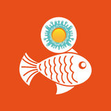 Fish sealife summer vacation sun splashes label Stock Photos
