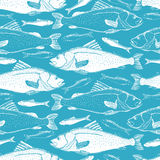Fish seamless background. Hand drawn fish on a blue background Stock Image