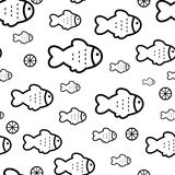 Fish seamless background. Fish icons or signs seamless pattern or background Stock Photos