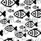 Fish seamless background. Fish icons or signs seamless pattern or background Stock Photo