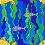Fish seamless. Eps 10 colorful vector fancy vitrage golden fish seamless pattern Stock Photos