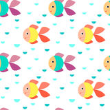 Fish seamless pattern. Seamless pattern - aquarium with colorful tropical fish Stock Photos