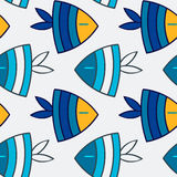Fish seamless pattern. Seamless pattern - aquarium with colorful tropical fish Stock Photo