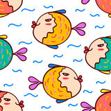Fish seamless pattern. Seamless pattern - aquarium with colorful tropical fish Stock Image