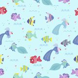 Fish seamless pattern for baby. Fish seamless background for children. Color Fish pattern for baby Royalty Free Stock Image