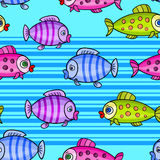 Fish seamless pattern background7-01. Nautical seamless pattern with a different fish on a blue striped background.Marine vector illustration for children.Kids stock illustration
