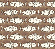 Fish Seamless Pattern. Beige Fish on Brown Background Seamless Pattern Royalty Free Stock Photography