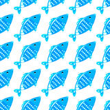 Fish seamless pattern. Blue fish seamless pattern on white background. Endless ornate texture for prints, crafts, textile. Vector illustration Stock Photo