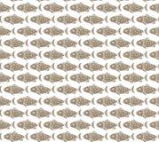 Fish Seamless Pattern. Brown Fish on White Background Seamless Pattern Royalty Free Stock Photo