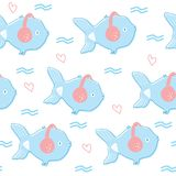Fish seamless pattern. Cartoon small fishes in headphones vector seamless pattern Royalty Free Stock Photography