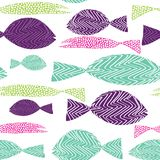 Fish seamless pattern. Colordul fish with stripes ans dots. Vector illustration on white background. Hand drawn fish seamless pattern. Colordul fish with stripes vector illustration