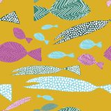 Fish seamless pattern. Hand drawn colordul fish with stripes and dots. Vector illustration on yellow background. Fish seamless pattern. Colordul fish with royalty free illustration