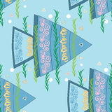 Fish seamless pattern. Seamless colorful fish background pattern in vector format Stock Images