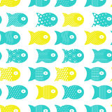 Fish seamless pattern for fabric textile design, pillows, wallpapers,cloth,bags,scrapbook. Paper. Vector illustration Stock Image