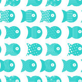 Fish seamless pattern for fabric textile design, pillows, wallpapers,cloth,bags,scrapbook paper. Vector illustration Royalty Free Stock Images