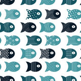 Fish seamless pattern for fabric textile design, pillows, wallpapers,cloth,bags,scrapbook paper. Vector illustration Royalty Free Stock Photography