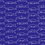 Fish seamless pattern. Hand drawn fish seamless pattern Stock Photos