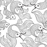 Fish seamless pattern. Hand drawn doodle line decorative marine Stock Image