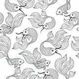 Fish seamless pattern. Hand drawn doodle line decorative marine Royalty Free Stock Image