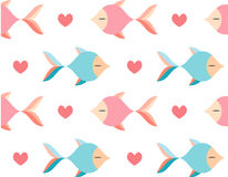 Fish seamless pattern. Fish heart seamless pattern vector Stock Images