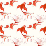 Fish seamless pattern. Koi seamless pattern can be used for wallpaper, website background, textile printing. Vector illustration of Chinese fish. Marine and Stock Image