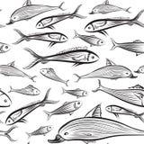Fish seamless pattern. Seafood tiled wallpaper. Stock Image