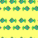 Fish seamless pattern. Vector seamless pattern. Painted by hand. Eps 8 vector illustration