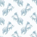 Fish. Seamless pattern. Watercolor background Stock Image