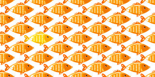 Fish seamless pattern on white background. Yellow fish seamless pattern on white background. Endless ornate texture for prints, crafts, textile. Vector Royalty Free Stock Image