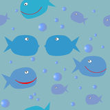 Fish. Seamless sea pattern playful flirting with fish and air bubbles for textile printing and packaging Stock Photos