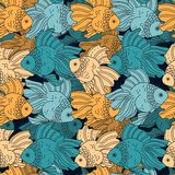 Fish. Seamless vector pattern. Fish. Seamless vector pattern with marine life vector illustration