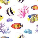 Fish and seashell. Repeating seamless pattern. Watercolor Royalty Free Stock Image