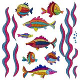 Fish and seaweed - embroidered set. Prints for design. Handmade,. Stickers. Vector illustration Stock Images