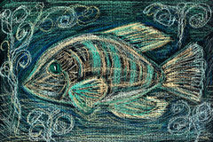 Fish, a pastel sketch Stock Photography