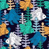 Fish and seaweed. Pattern with fish and colorful algae on a dark background. Fish and seaweed. Seamless vector pattern with marine life Stock Photos