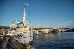 Fish seller and bike bridge in the harbor of Copenhagen. Denmark royalty free stock photo