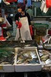 Fish Seller checks its product on the market. Royalty Free Stock Photos