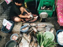 Fish seller. Cleaning the fish at fresh market Stock Photo