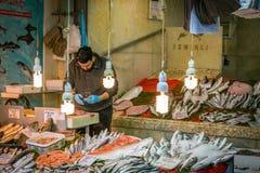 Fish seller in Eminonu, Istanbul Royalty Free Stock Images