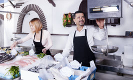 Fish sellers Royalty Free Stock Image