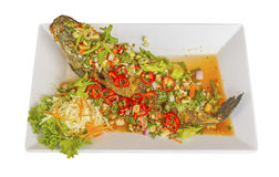 Fish Serve with Herb and Spicy Sauce Royalty Free Stock Photo