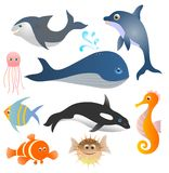Fish set. Collection of cartoon marine animals isolated Stock Images