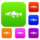 Fish set collection. Fish set icon in different colors  vector illustration. Premium collection Royalty Free Stock Images