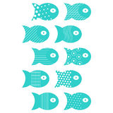 Fish set of elements for fabric textile design, pillows, wallpapers,cloth,bags,scrapbook paper. Simple flat fish set of elements for fabric textile design Royalty Free Stock Photography