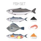 Fish set menu. Mackerel Red caviar black caviar shrimp Royalty Free Stock Image
