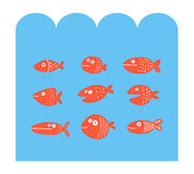 Fish set silhouettes under the sea. Vector design Stock Photos