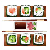 Fish set, for sushi bar. Royalty Free Stock Images