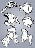 Fish set. Set of various cartoon fishes silhouettes, black and white Stock Photo