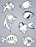 Fish set. Set of various cartoon fishes silhouettes, black and white Royalty Free Stock Images