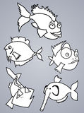 Fish set. Set of various cartoon fishes silhouettes, black and white Royalty Free Stock Image